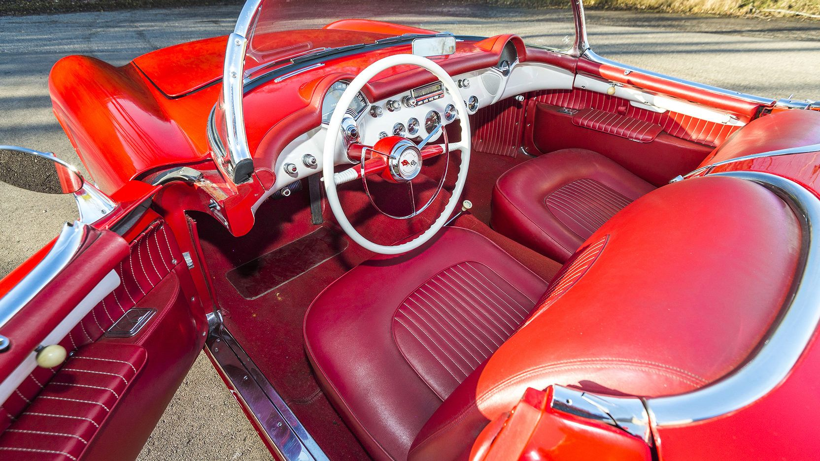 The beautiful interior in the 1954 Chevrolet Corvette Convertible (Lot L64.1) that will be auctioned at the Mecum Kissimmee Auction this January.