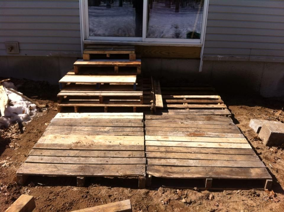 Easy pallet deck Stack and cut pallets to make steps and a Landing