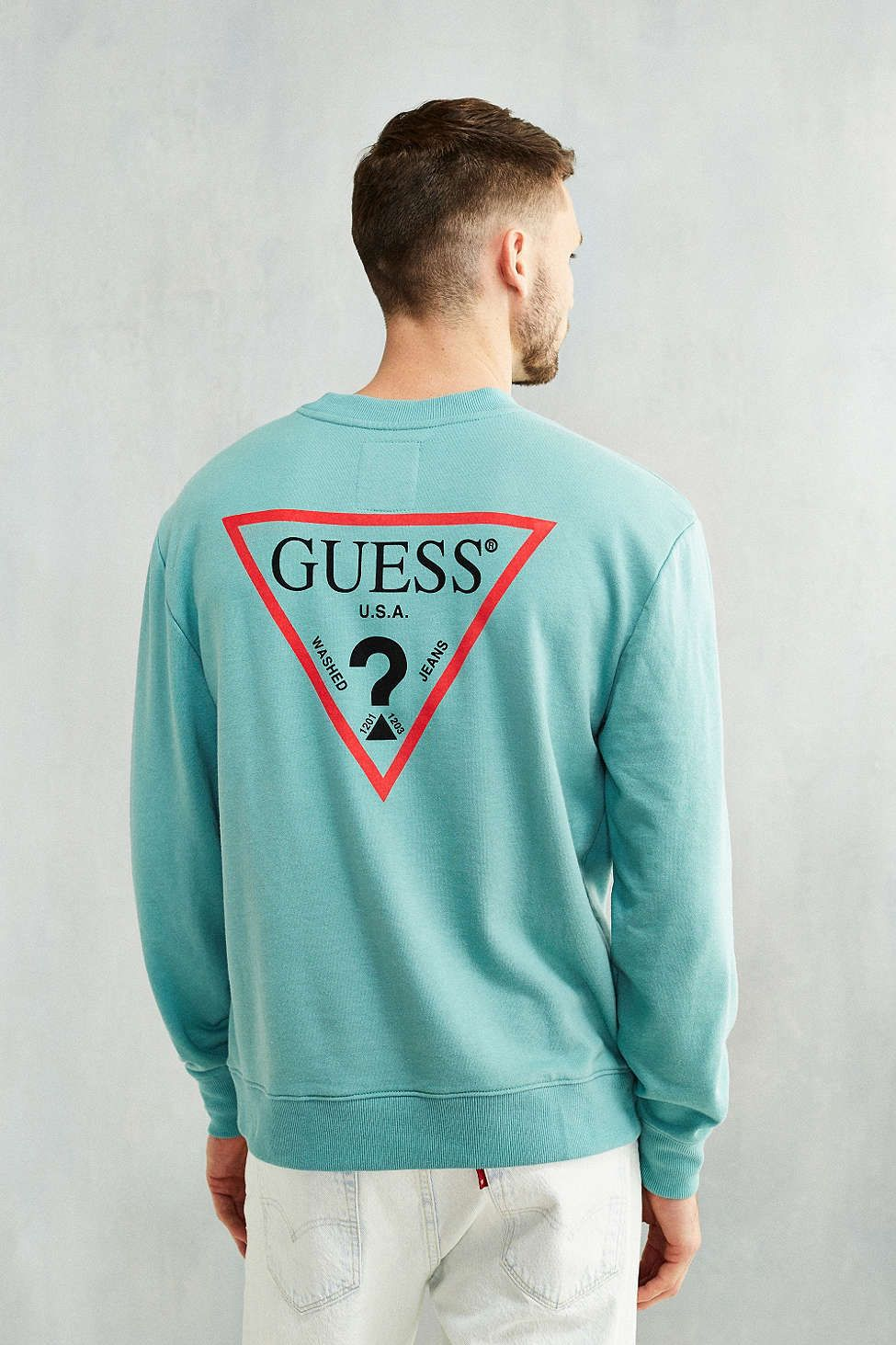 c1c5c2682387 GUESS Logo Crew Neck Sweatshirt
