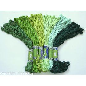 NEW 60 Skeins of Silky Hand Embroidery Cross Stitch Floss Threads - GREEN TONES from ThreadsRus