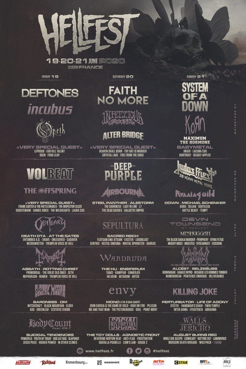 The Full Hellfest 2020 Lineup Has Been Released Faith No More
