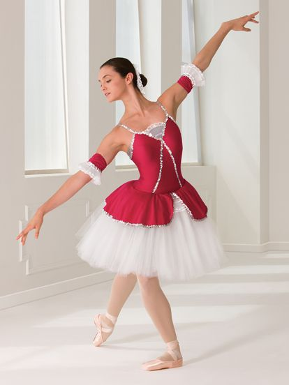 Rubies dance costume with European length tutu at Revolution Dancewear.