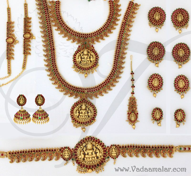 antique finish indian bridal jewellery set traditional 19 piece