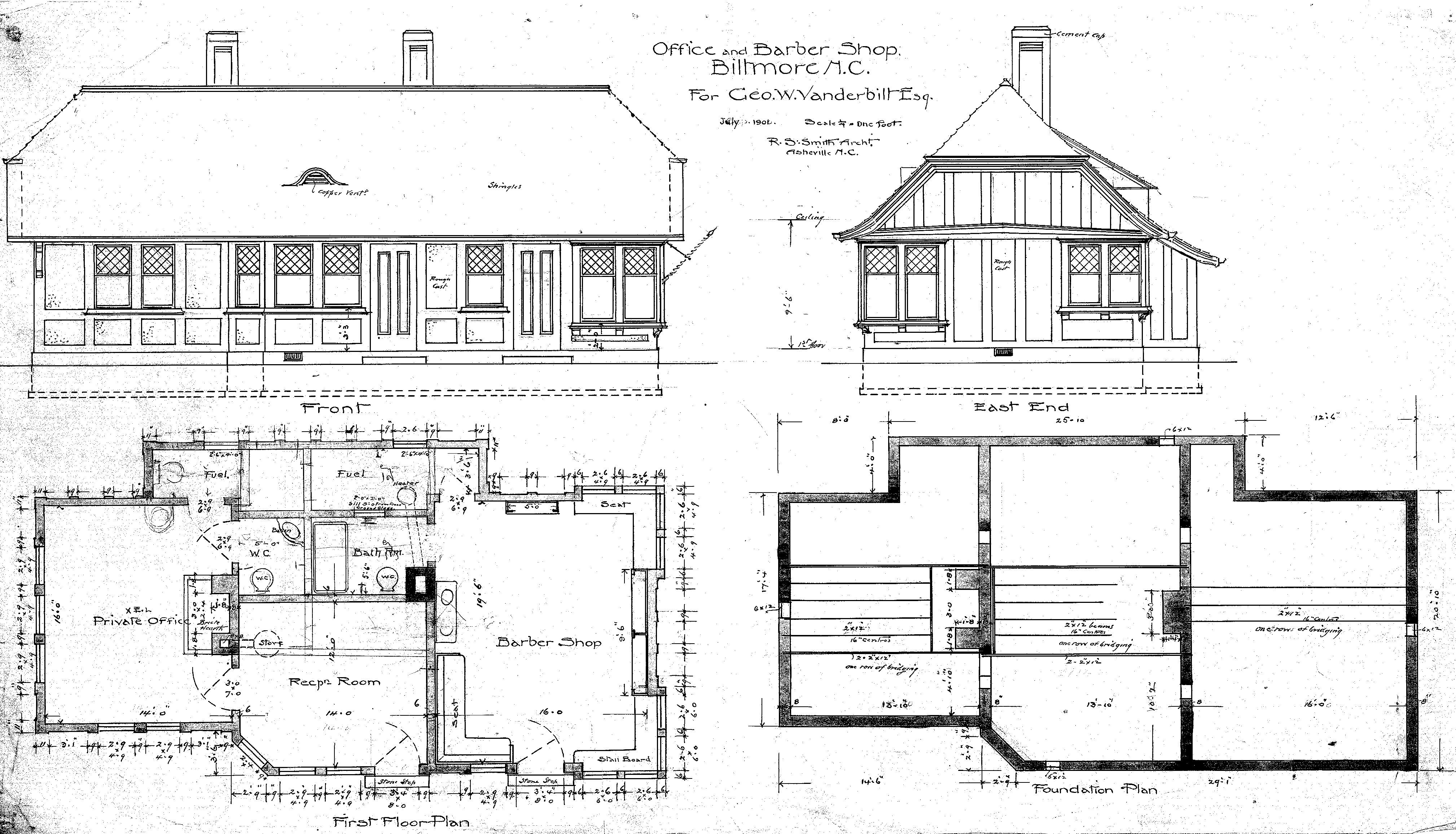 Office And Barber Shop Elevations Floor Plans House Elevation Architecture House Architecture