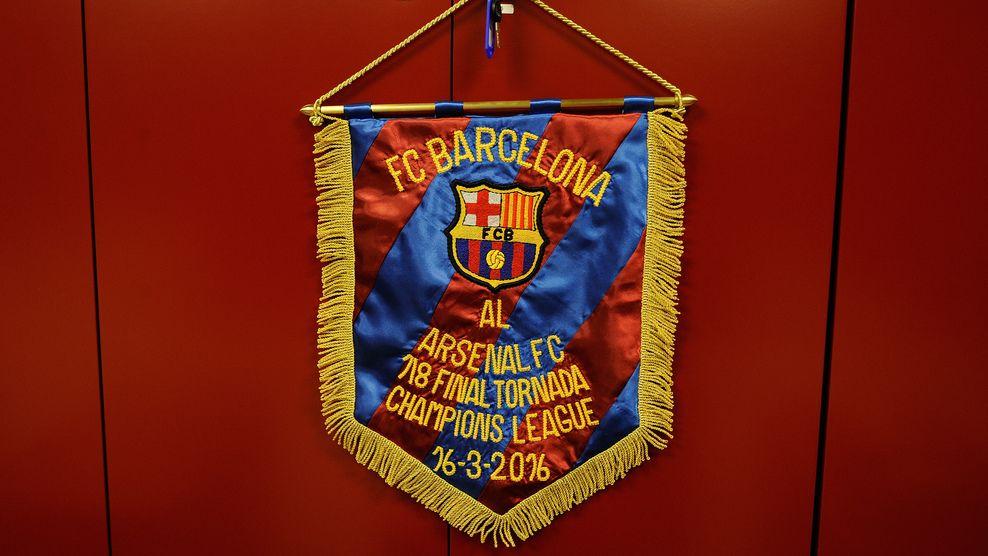 Barcelona's match pennant
