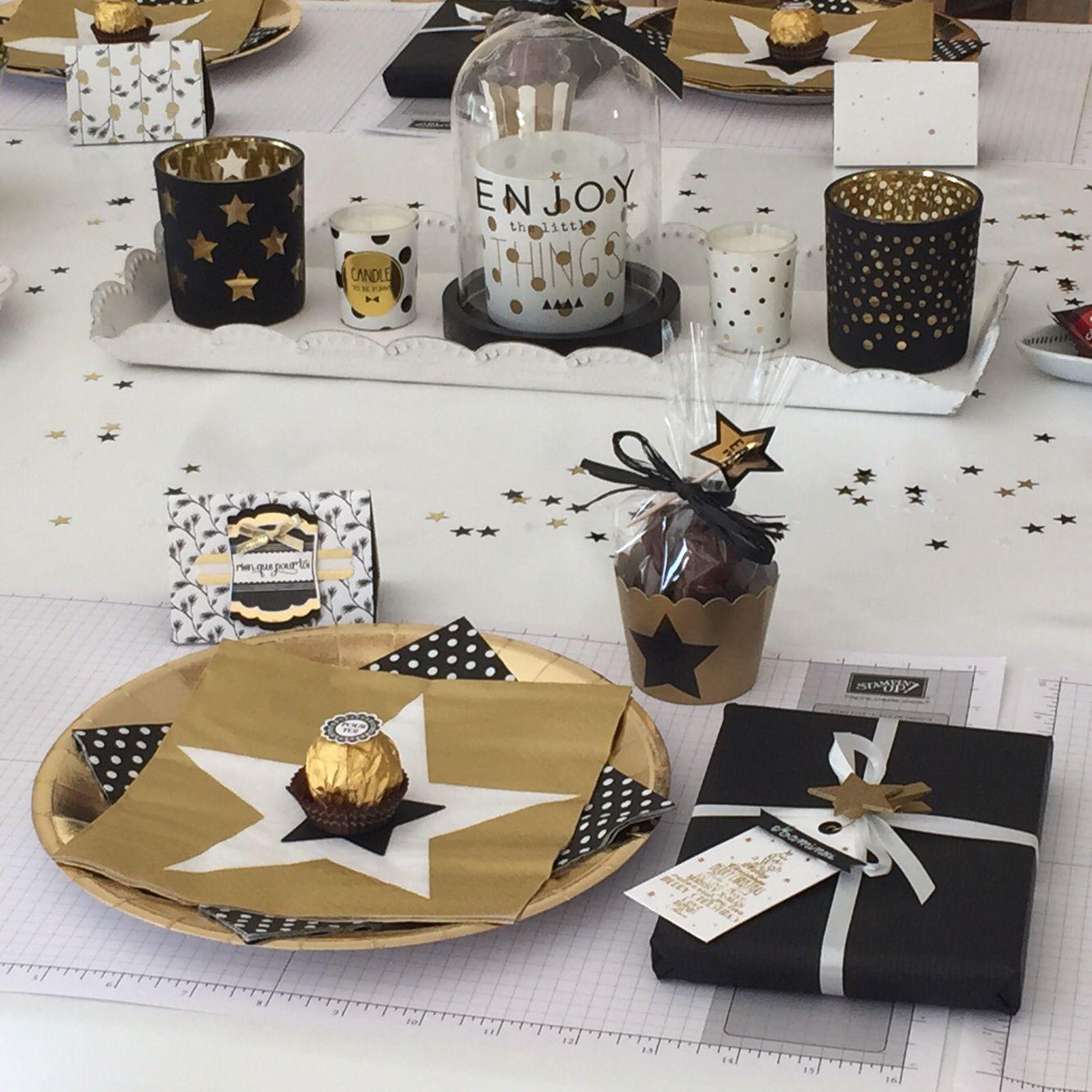 Table Noir Blanc Et Or Table De Noël Noir Et Blanc Table