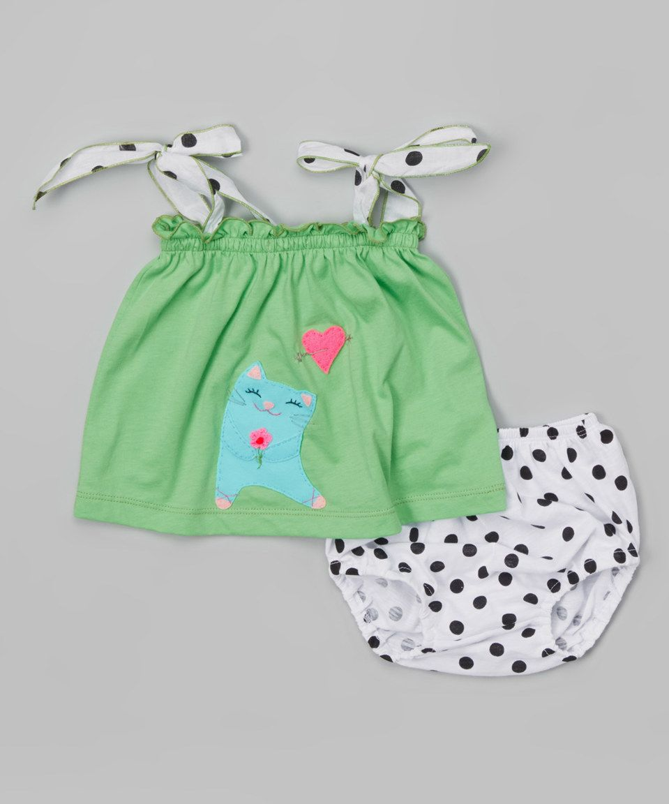 Look at this #zulilyfind! Lime Kitty Love Top & Polka Dot Diaper Cover - Infant by Victoria Kids #zulilyfinds