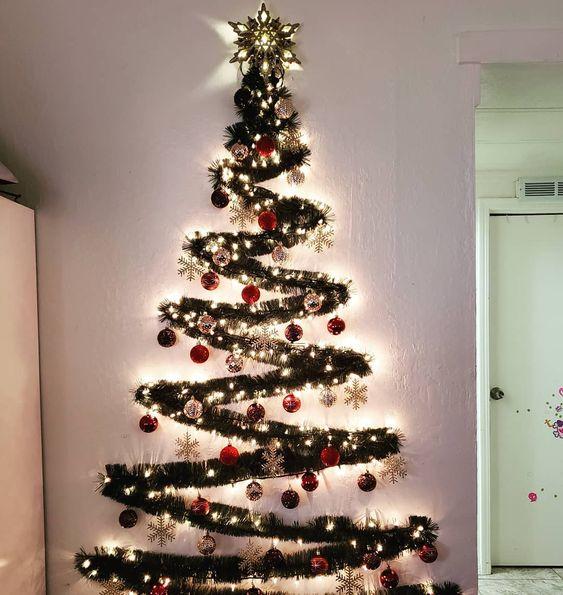 136 Diy Wall Christmas Tree Ideas 32 Wall Christmas Tree Creative Christmas Trees Alternative Christmas Tree