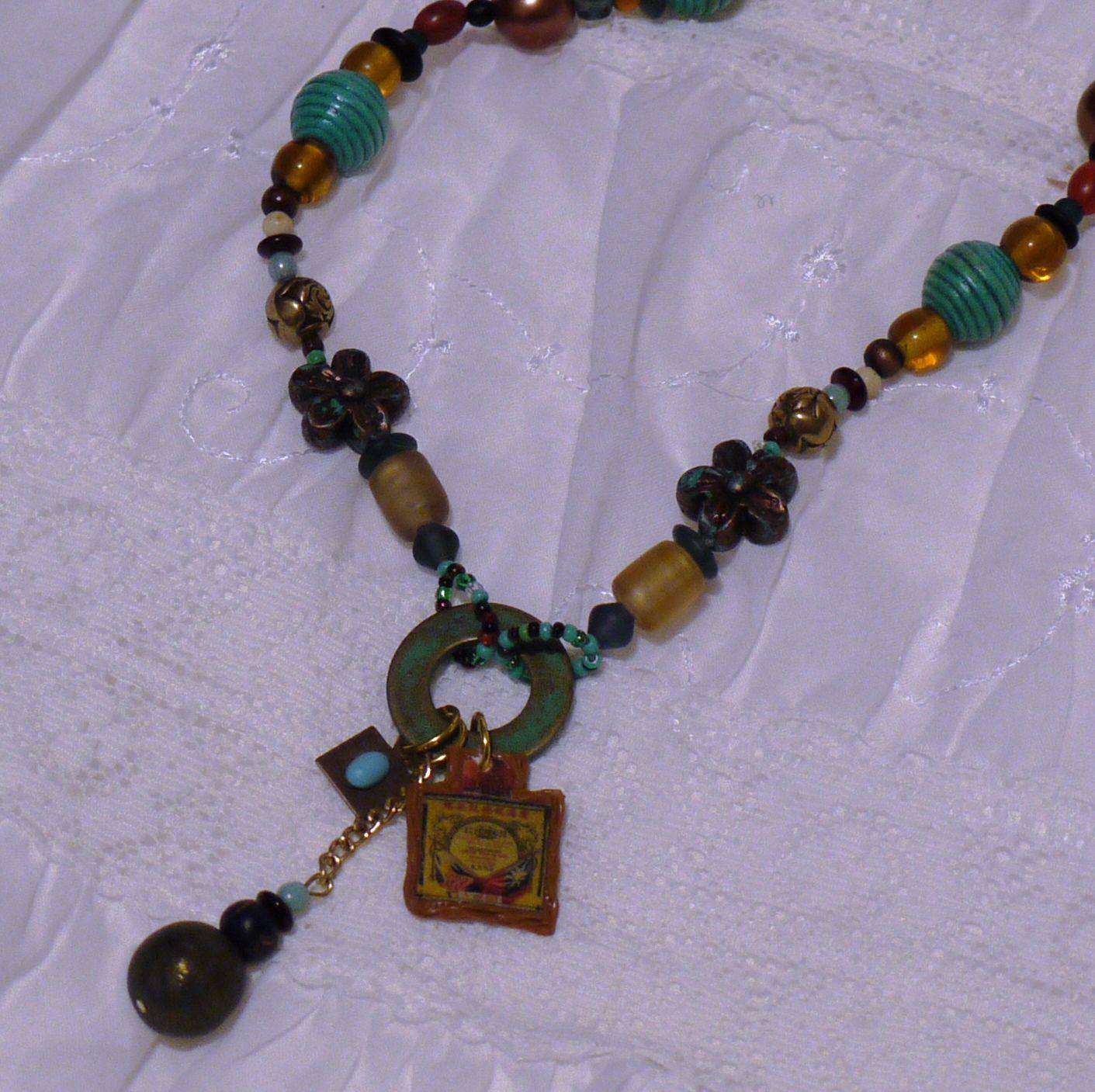 Sleeping Beauty Turquoise charm, hodge podge of beads