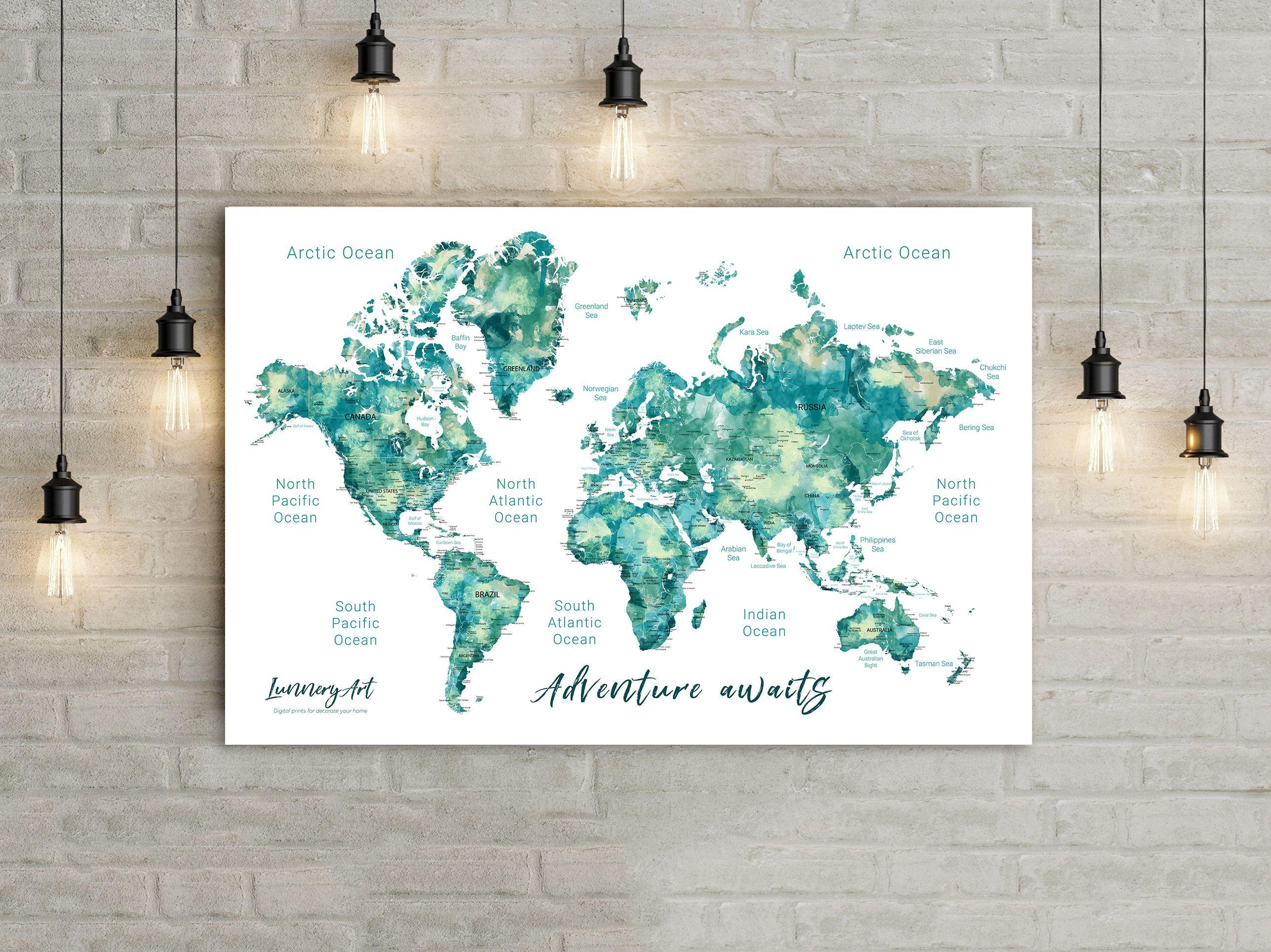 Custom map world map printable file for printing a push pin map custom map world map printable file for printing a push pin map watercolor map poster wall decor art print digital files gumiabroncs Image collections