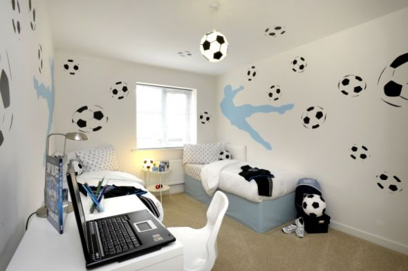fu ball zimmer design ideen jugendzimmer kinder. Black Bedroom Furniture Sets. Home Design Ideas