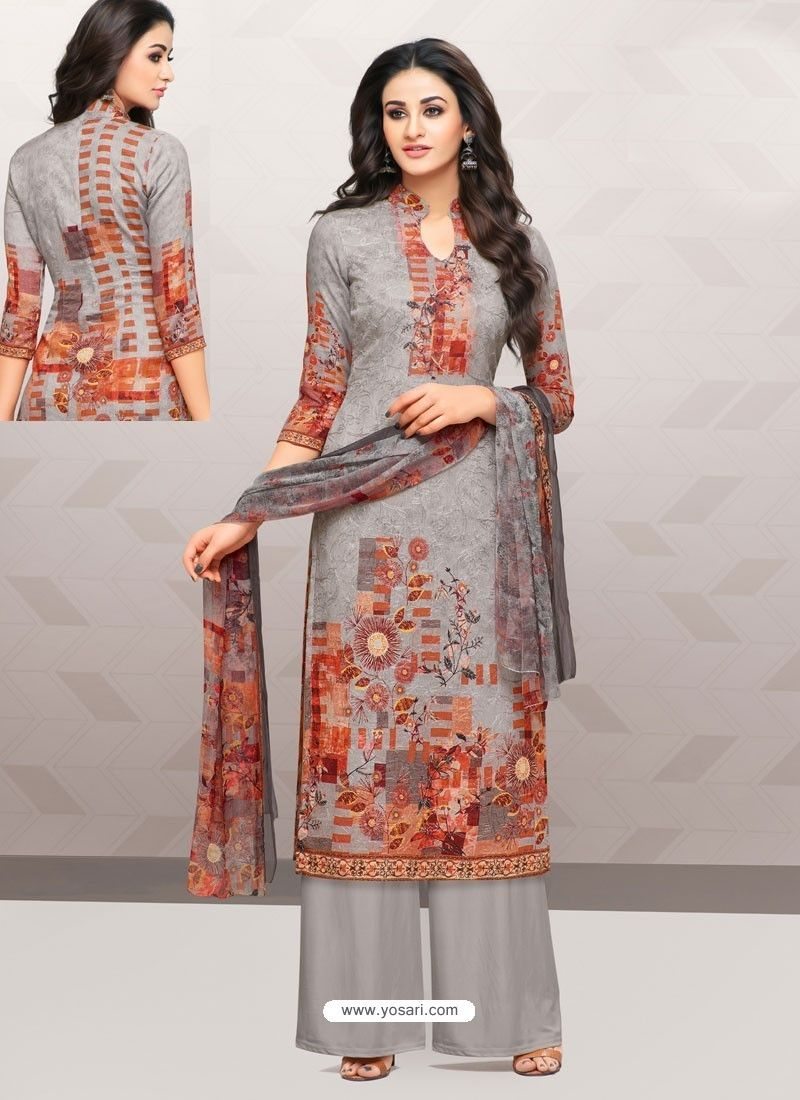 e76f1d06553b6 Grey Glaze Cotton Digital Printed Palazzo Suit
