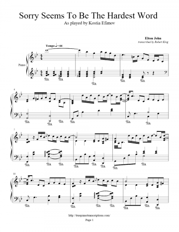 Sorry Seems To Be The Hardest Word (Piano Solo) - Elton John