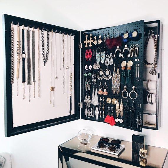 Noir - cadre du « Miroir » organisateur mur montée en bijou ...