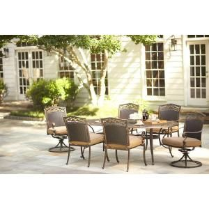 Martha Stewart Living, Miramar II 7 Piece Patio Dining Set With Tan  Cushions,