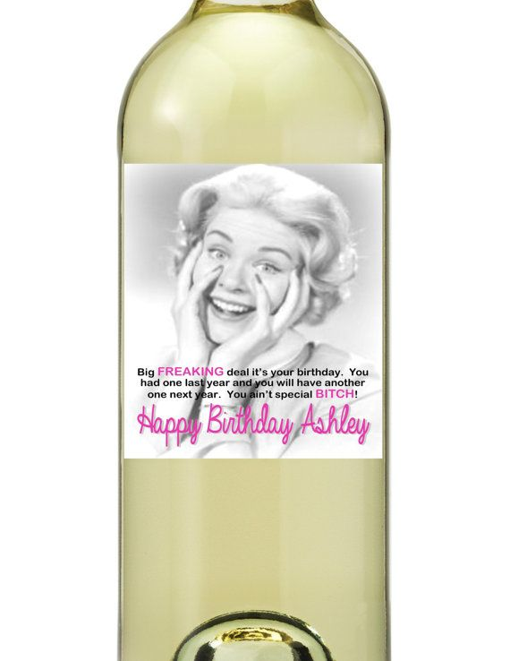 Happy Birthday Wine Bottle Labels Retro Funny by TheSloshedSisters, $2.75