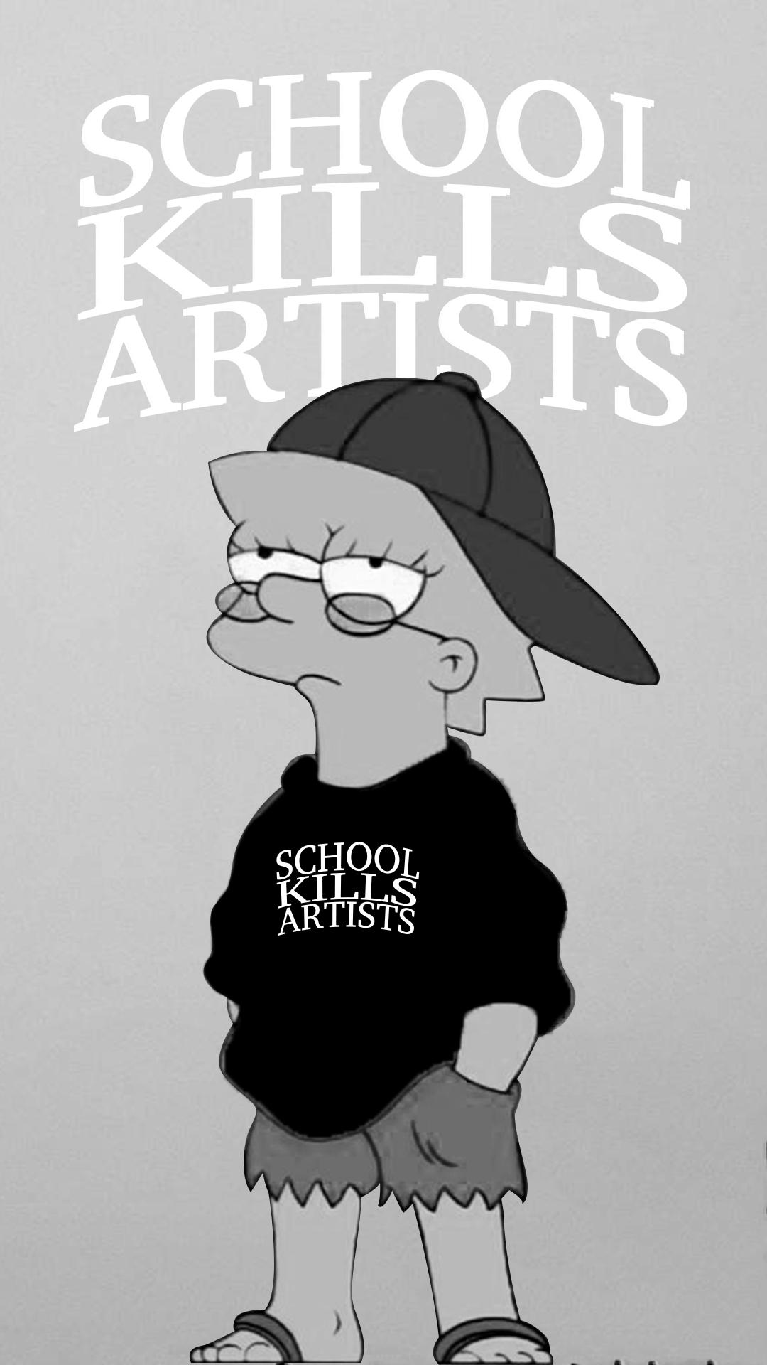 Lisa Simpsons School Kills Artists Wallpaper Simpson Wallpaper Iphone Hippie Wallpaper Wallpapers Vintage