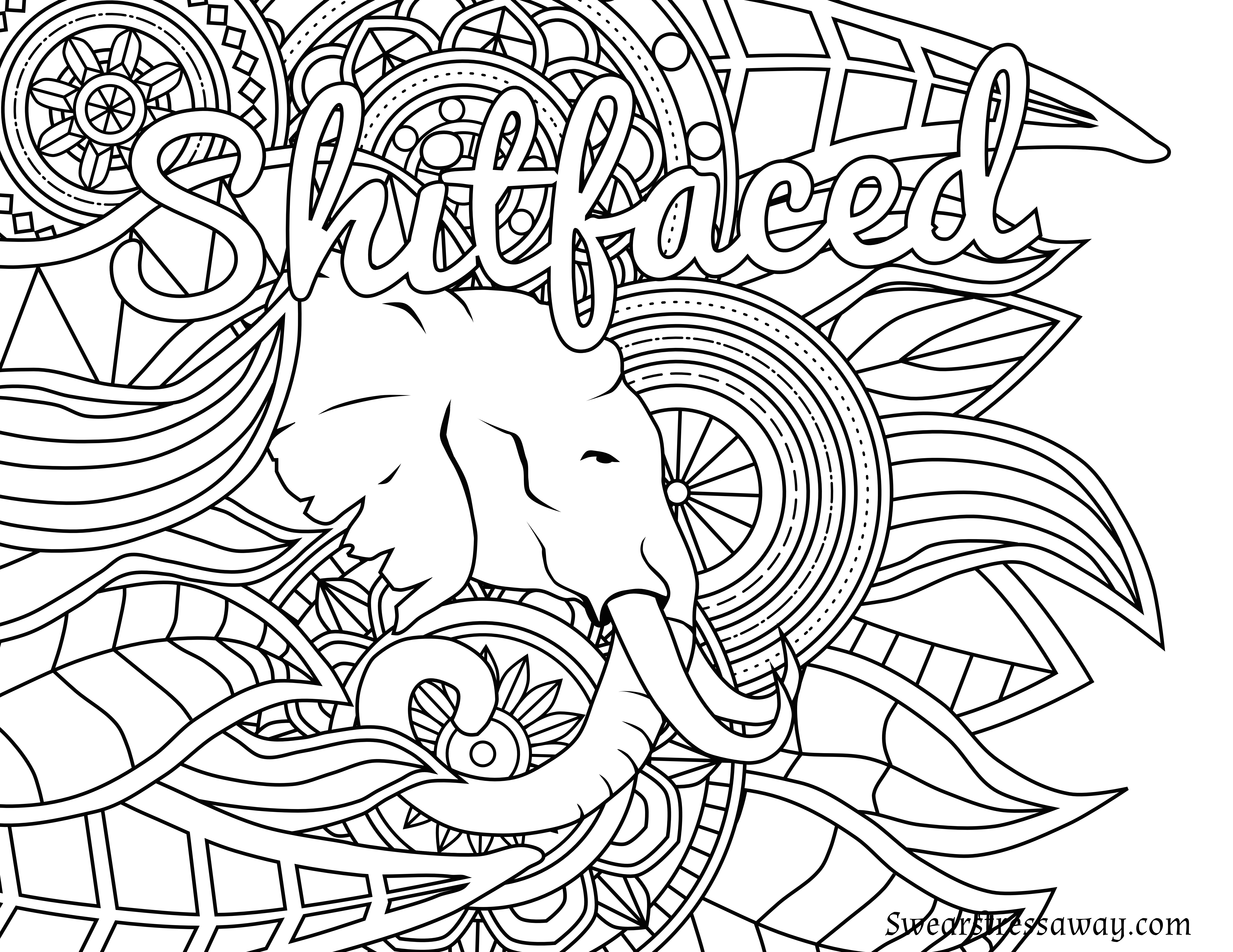 Bad word coloring pages - Free Printable Coloring Page Shitfaced Swear Word Coloring Page Sweary Coloring Page