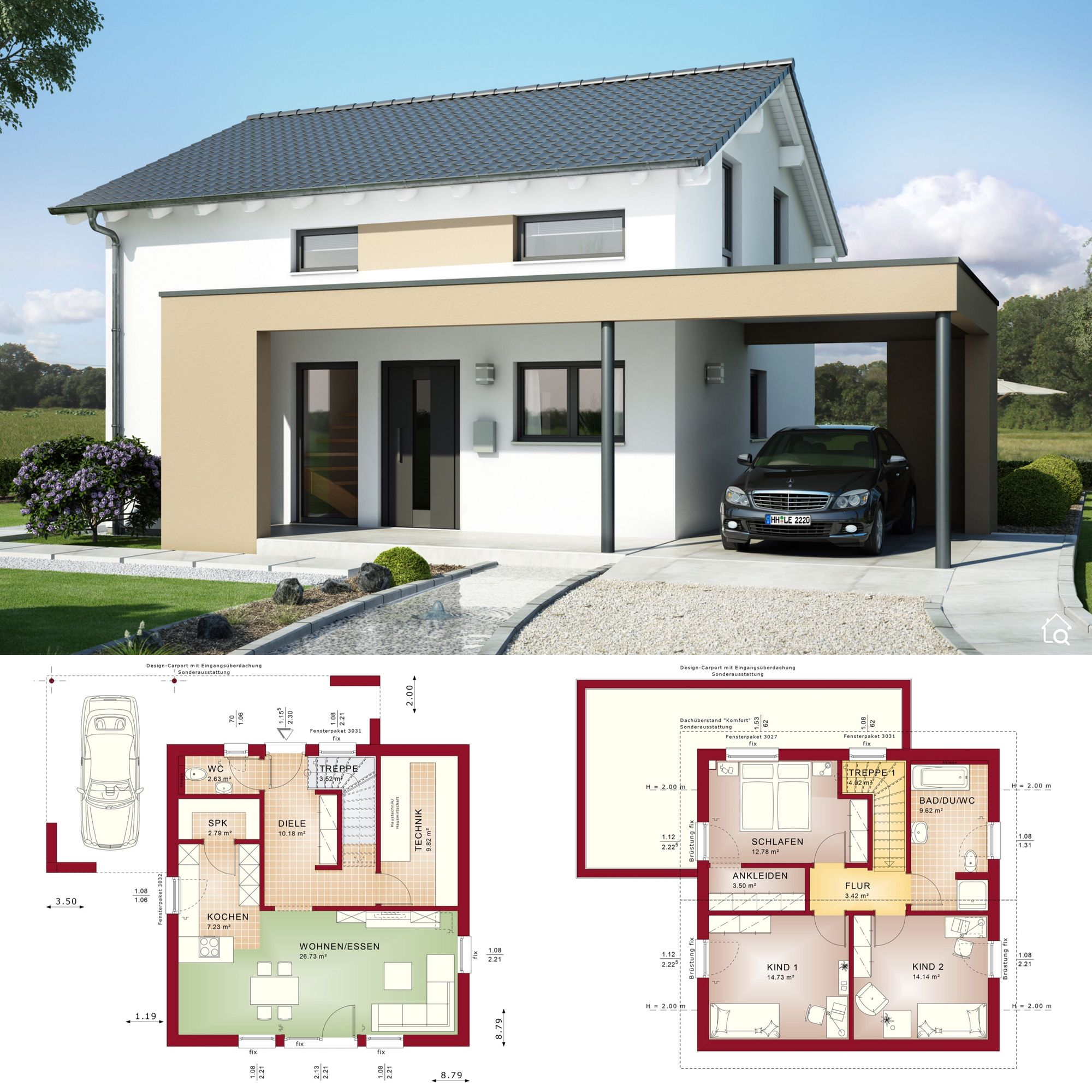 Two Floor House Plans With Carport Gable Roof Modern Contemporary European Architecture Design In 2020 Haus Grundriss Haus Modernes Haus