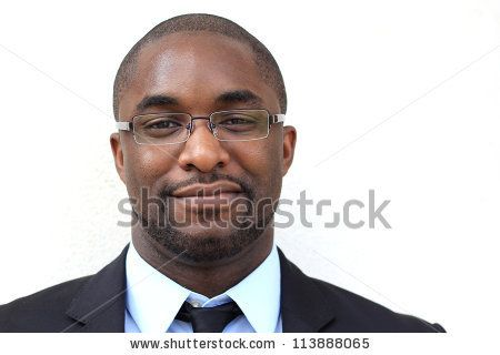 Portrait of a Smiling, Happy, and Attractive, Young Professional African American Businessman Wearing Glasses - #stock #photo
