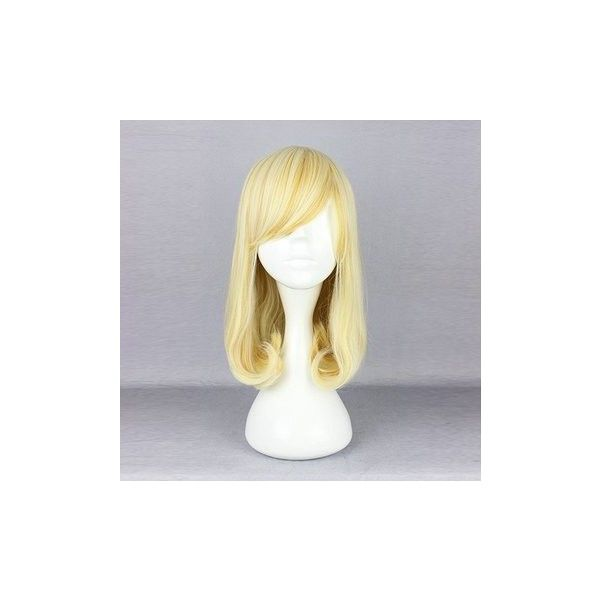 Harajuku Blonde Side Bang Wavy Costume Cosplay Wig High Temperature... (115 SEK) ❤ liked on Polyvore featuring beauty products, haircare, hair styling tools and white