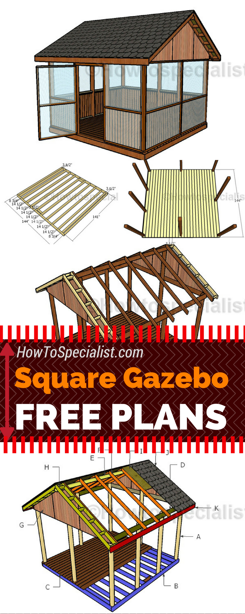 Screened Gazebo Plans Howtospecialist How To Build Step By Step Diy Plans Gazebo Plans Screened Gazebo Diy Gazebo