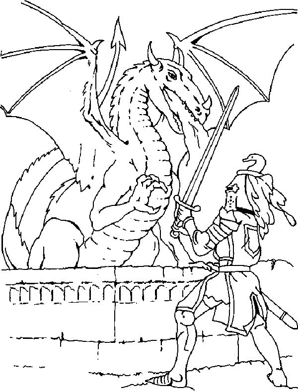 Knight Fighting A Dragon Coloring Page
