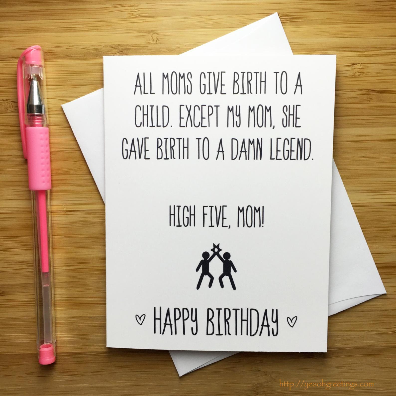 Funny Happy Birthday Mom Card, Mother Happy Birthday