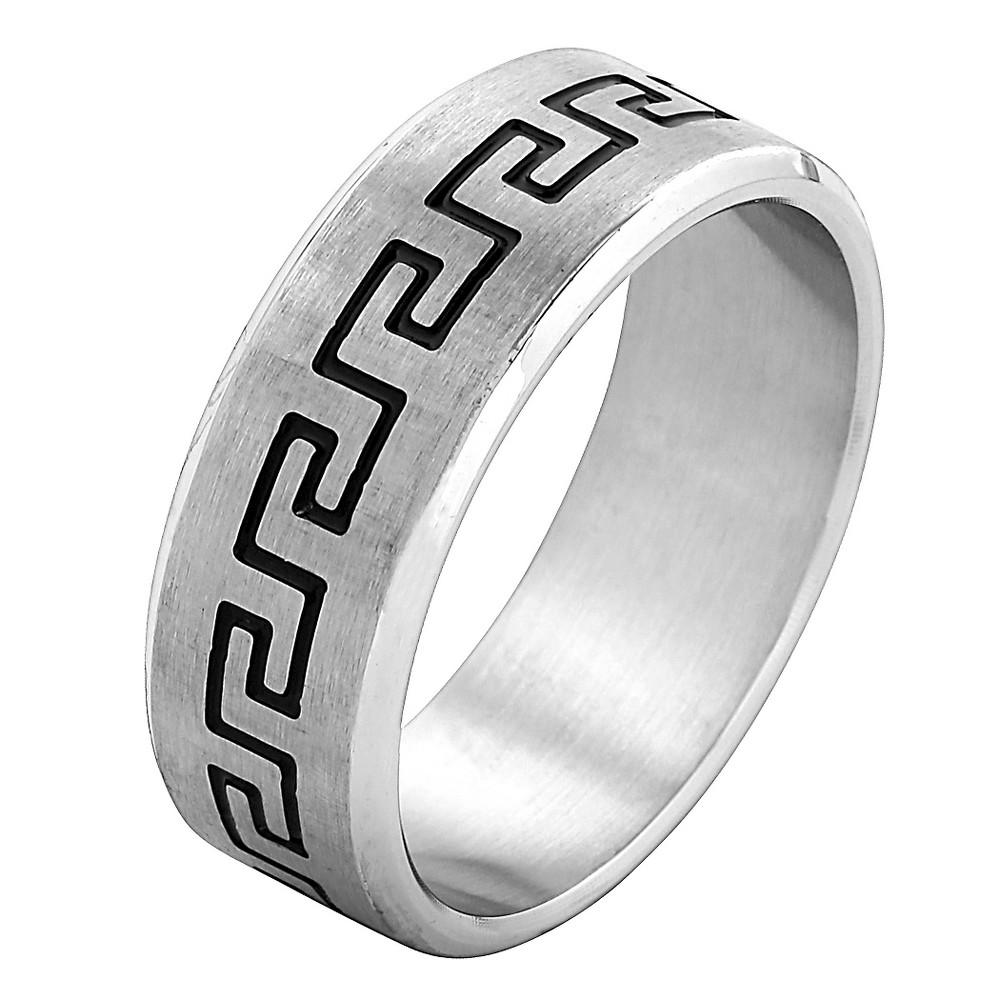 West Coast Jewelry Stainless Steel Laser Etched Greek Key