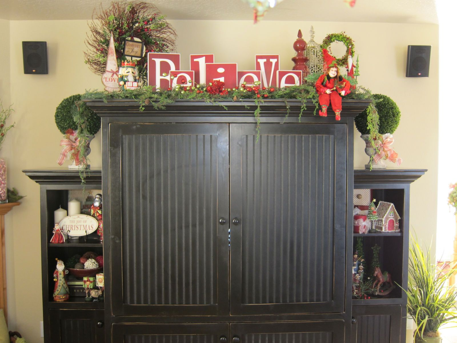 decorating top of china cabinet | Primitive decorating ...