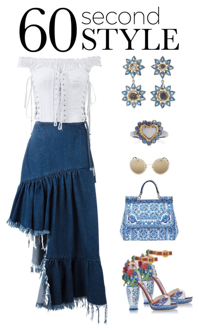 """""""60-Second Style: Asymmetric Skirts"""" by karen-galves ❤ liked on Polyvore featuring Marques'Almeida, Dolce&Gabbana, SheBee Gem, asymmetricskirts and 60secondstyle"""