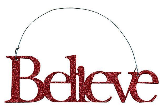 """S/6 """"Believe"""" Ornaments, Red on OneKingsLane.com"""