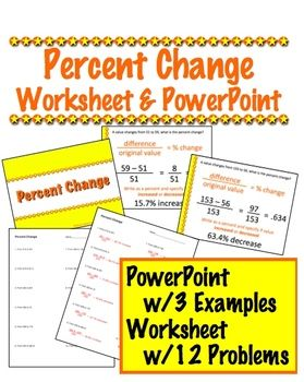 Percent Change Powerpoint  Worksheet   FifthgradeflockCom
