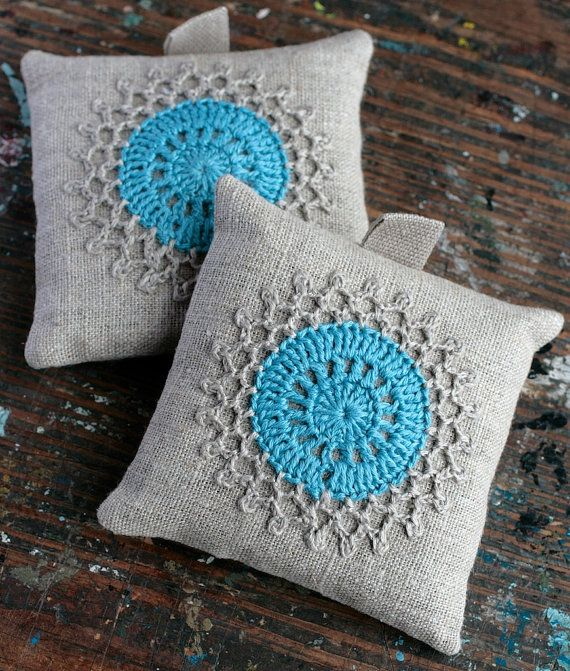 Lavender sachets  crochet motif  set of 2 by namolio on Etsy (Home & Living, Home Décor, Home Fragrances, Sachets, linen, gift, crochet, sachet, lavender sachet, housewarming gift, pillow, air freshener, lace, flower, blue, turquoise, light turquoise)