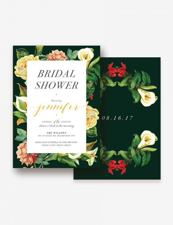 Bridal Shower Invitation with garden high tea theme. Classic vintage style invitation only at inatondesign.com