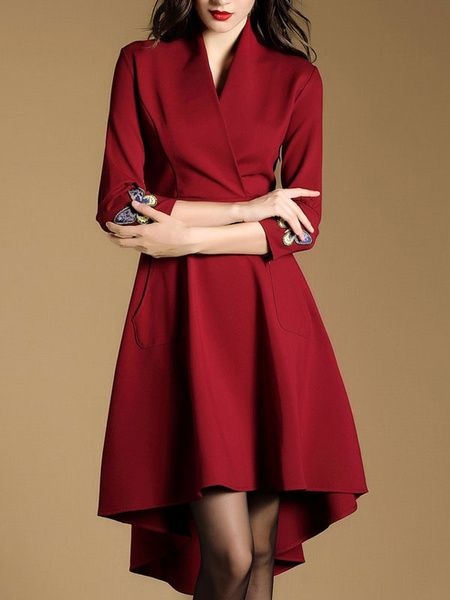 Pleated Vintage Dress V-neck 3/4-Length Sleeve Butterfly Print High Low Women's Flare Dress