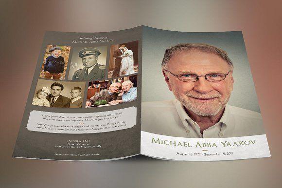 Retro Funeral Program Template Template, Brochures and Brochure