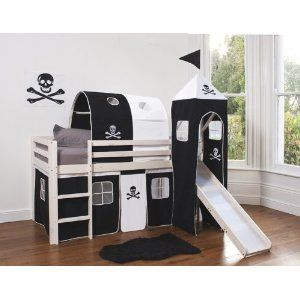 Cabin Bed Mid Sleeper Pirate with Tower Tunnel u0026 Tent WHITEWASH 6970WW-PIRATE  sc 1 st  Pinterest & Cabin Bed Mid Sleeper Pirate with Tower Tunnel u0026 Tent WHITEWASH ...