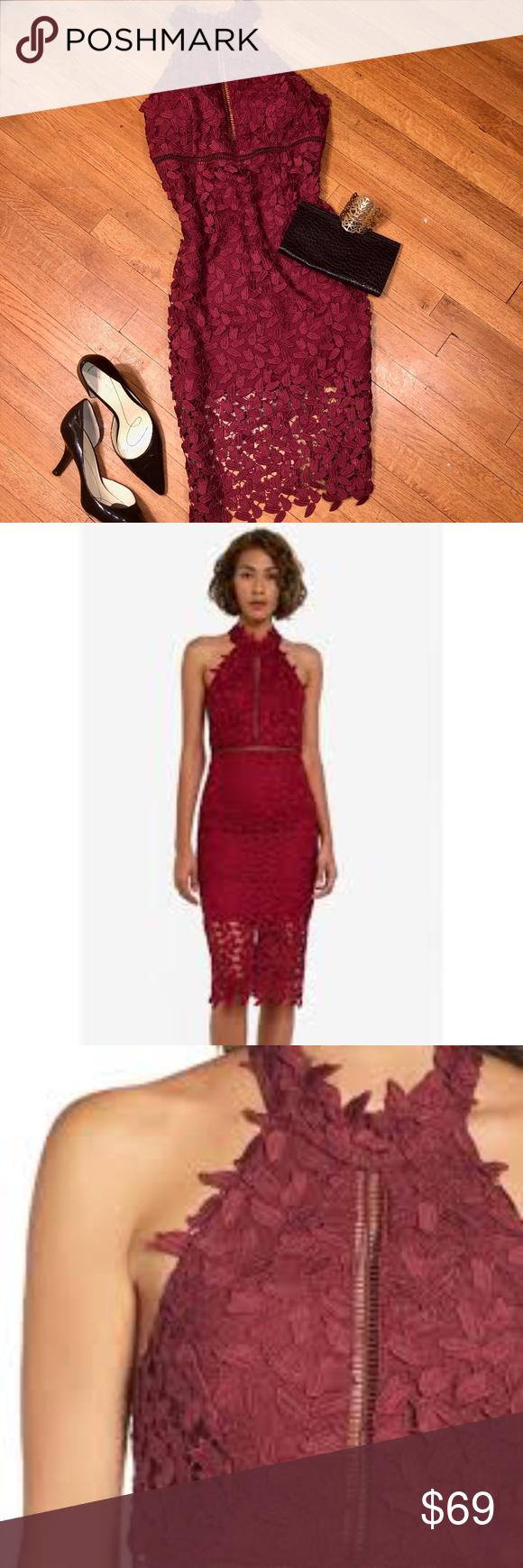 Nwt Bardot Burgundy Gemma Halter Lace Sheath Dress Brand New