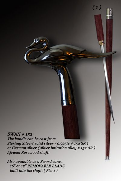 Custom walking cane Swan (additional options are available) | Battle