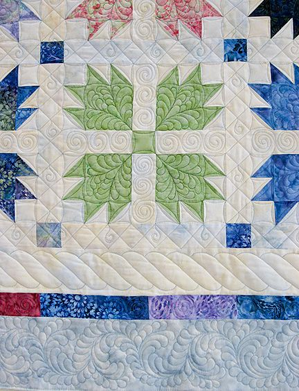Gorgeous Quilting On Bear Paw Block Grid Quilted In Borders With A