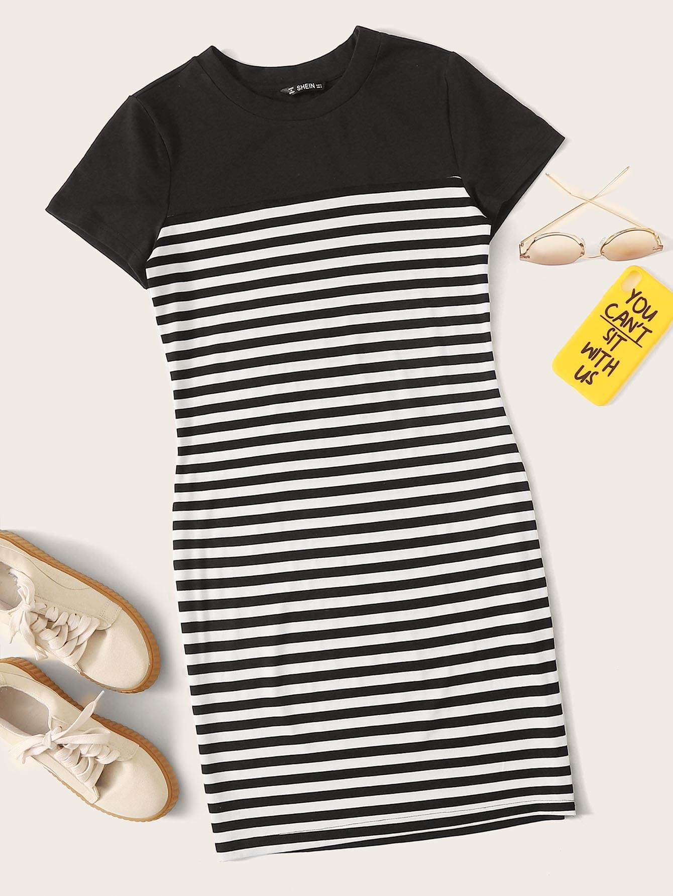 Ad Solid Yoke Striped Bodycon Dress Tags Casual Black And White Striped Round Neck Short Bodycon Sho Striped Bodycon Dress Striped Dress Bodycon Dress [ 1785 x 1340 Pixel ]