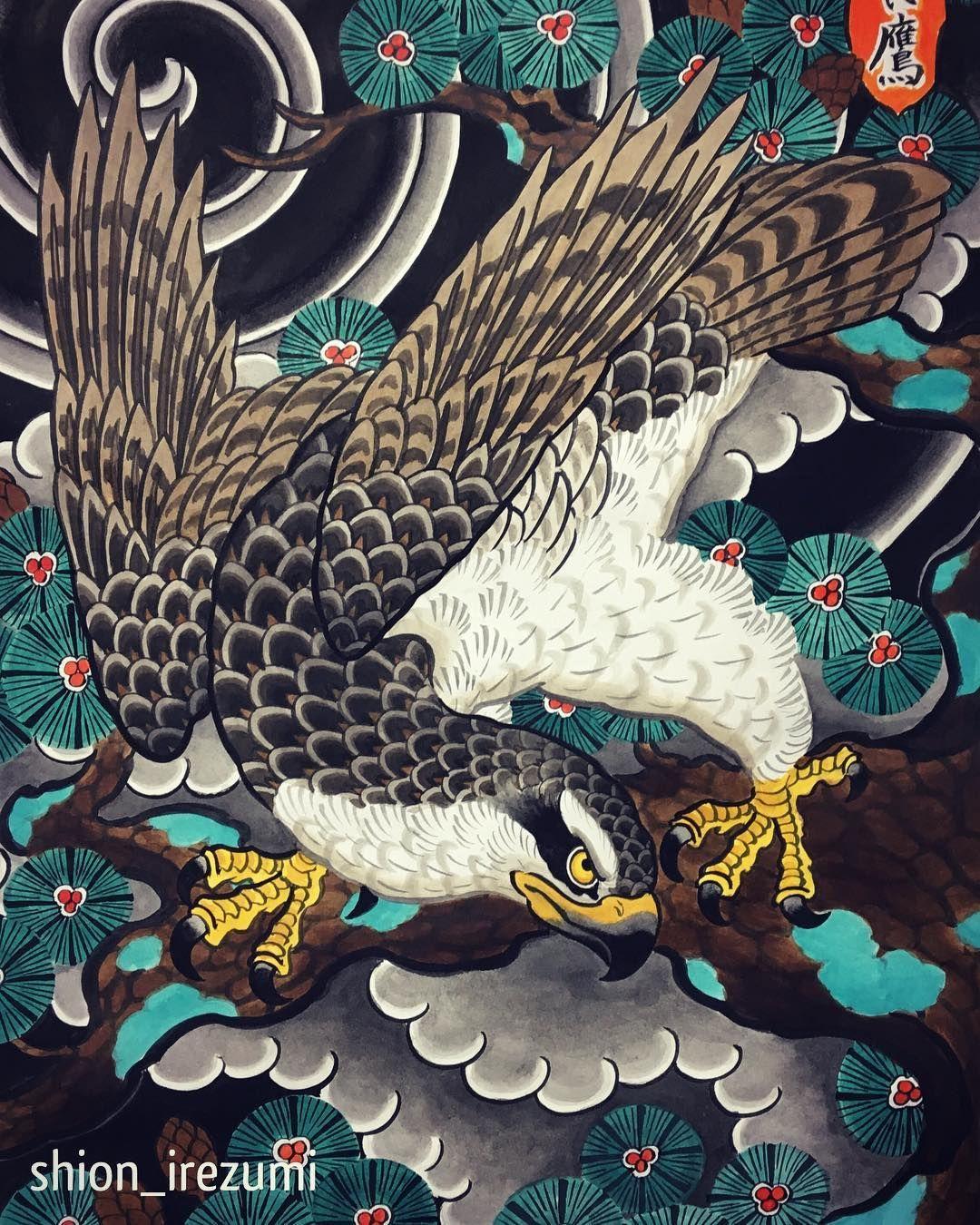 artist shion japan art japanese tattoo art, traditional😊original idea for back piece horishio japanesetattoo irezumi eagle neck tattoo,