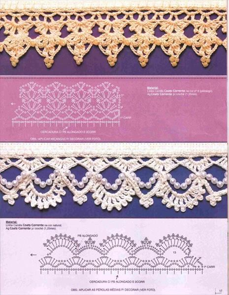 crochet lace edging (with pearls) pattern