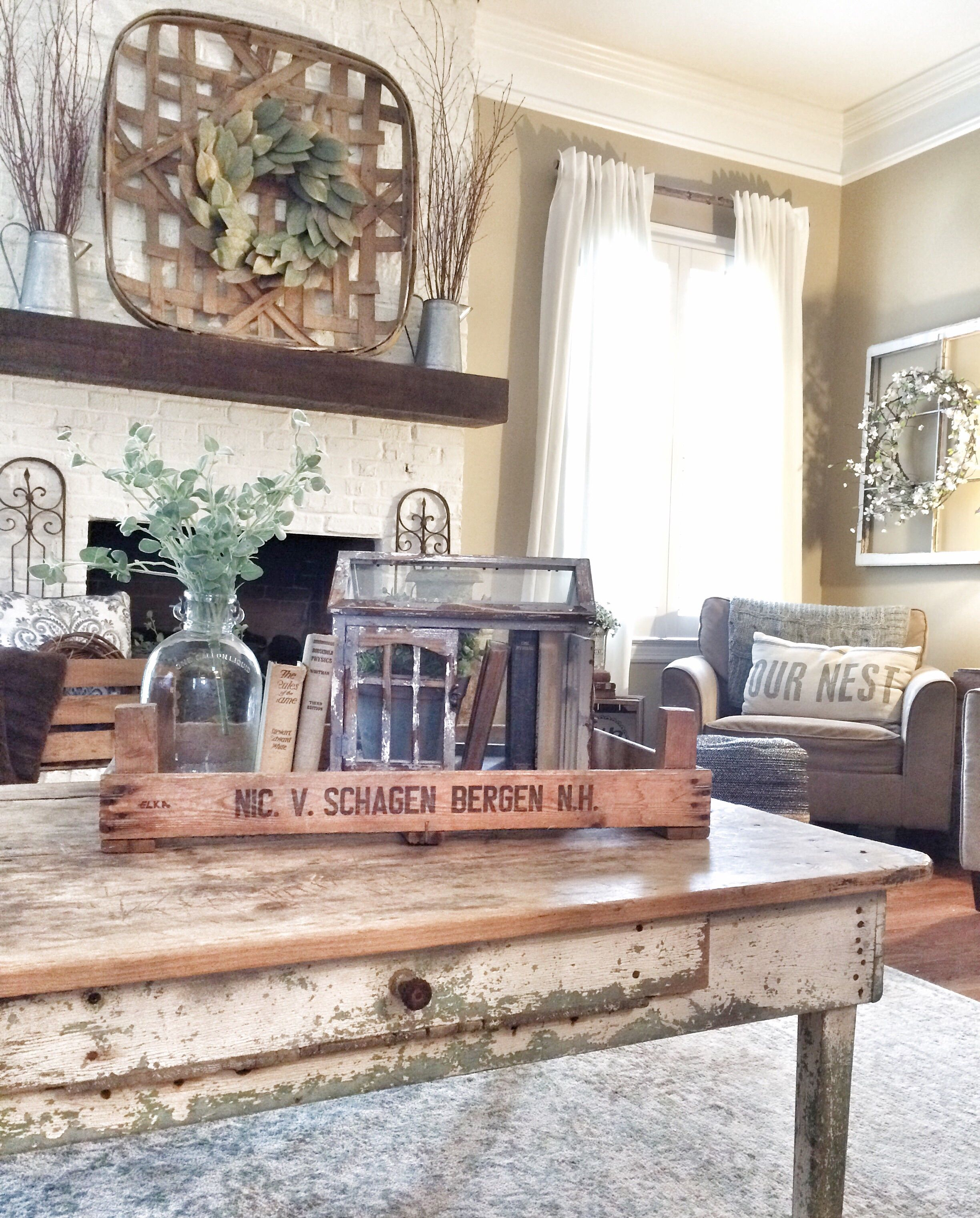 rustic livingroom with tobacco basket bless this nest blog