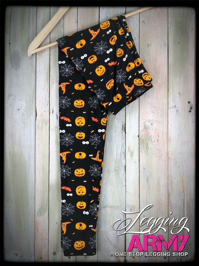 6b4c6bbe02f  18+Free Shipping Plus Halloween Town Pumpkin Spider Web Bat Witch Hat  Jack-O-Lantern Halloween Leggings