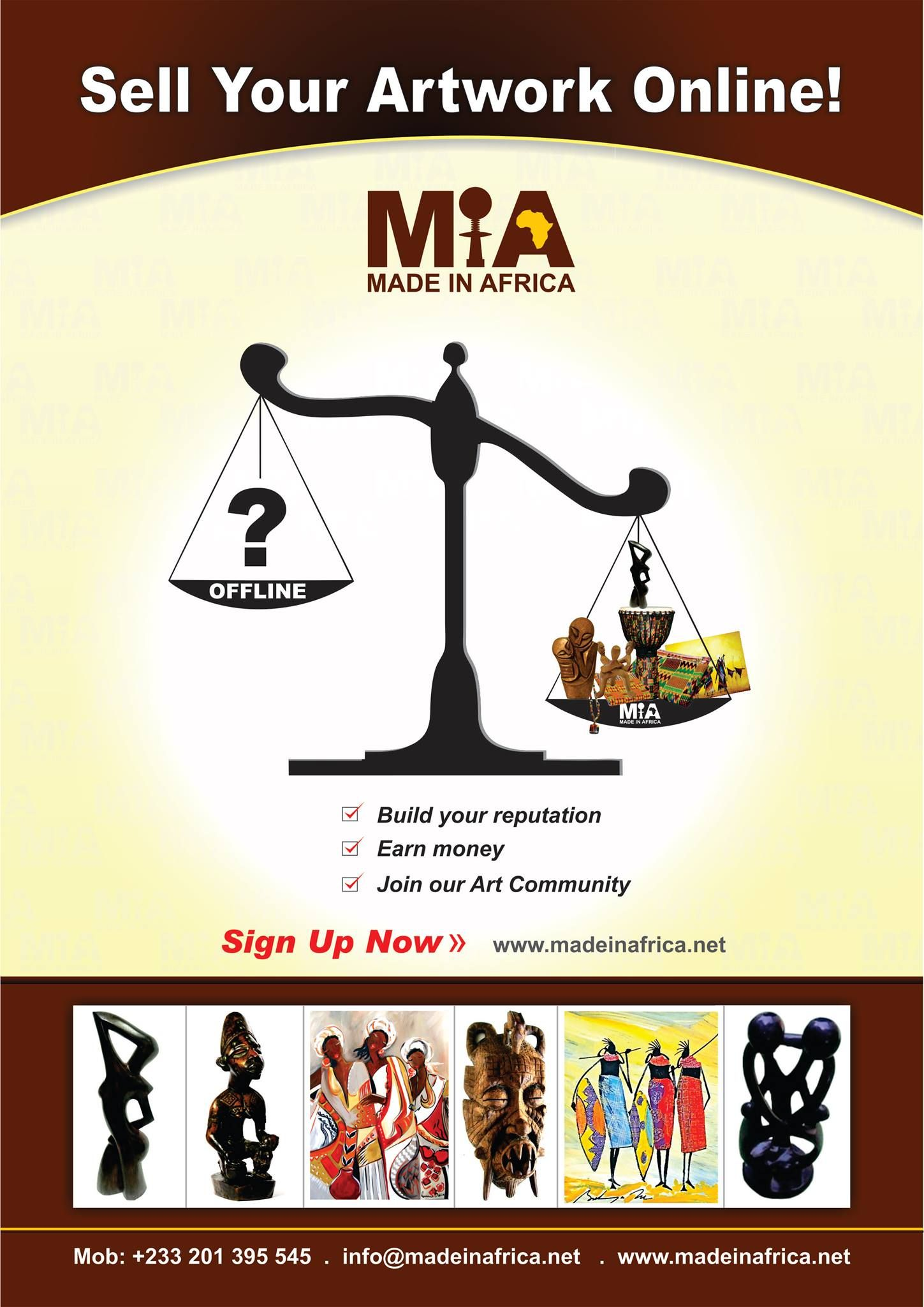 sell your artworks on www.madeinafrica.net
