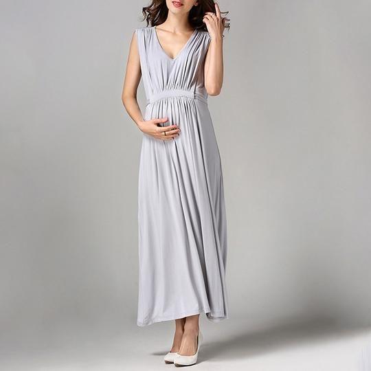 5dc3c4a8c2 Maternity V-Neck Sleeveless Full Length Dress Maternity Dresses