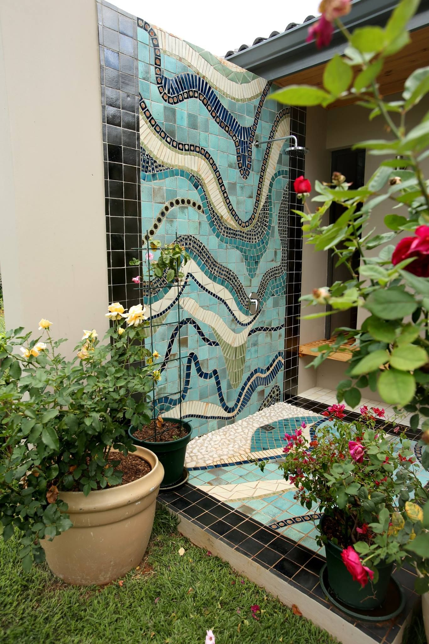 Outdoor Decorative Tiles For Walls Simple This Outdoor Shower Gives An Abstract Impression Of Water Flowing Design Decoration