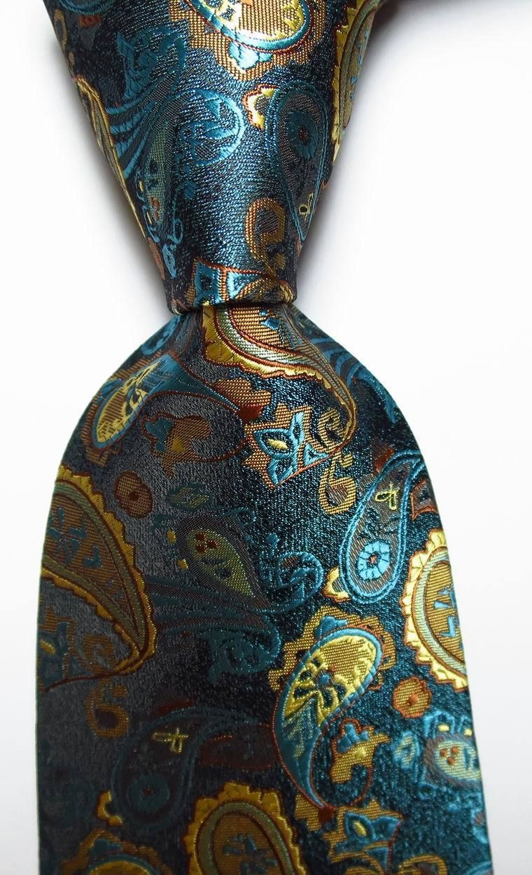 New Classic Floral Sea Blue Green JACQUARD WOVEN 100/% Silk Men/'s Tie Necktie
